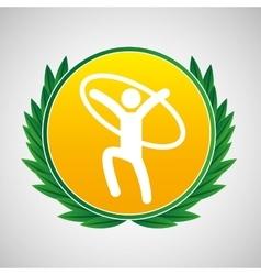 artistic gymnastic ring symbol label laurel vector image