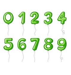 Balloon numbers zero to nine in green color vector