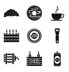 beer on draft icons set simple style vector image