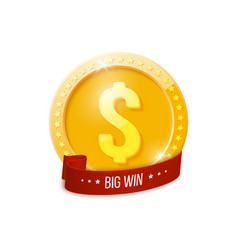 big win banner with golden coin vector image