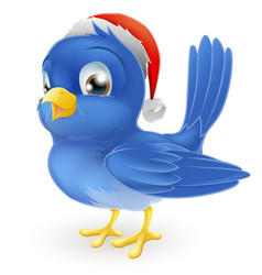 blue bird in santa claus hat vector image