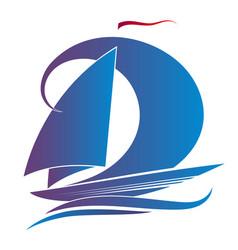 Blue yacht with a sail vector