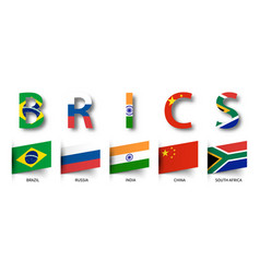 Brics association of 5 countries and flags vector