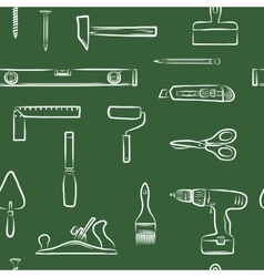 Carpentry doodle icons seamless pattern vector image