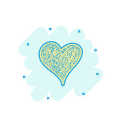 cartoon colored heart icon in comic style love vector image