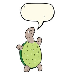 cartoon happy turtle with speech bubble vector image