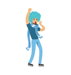 cheering football fan character in blue wig vector image