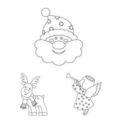 Christmas attributes and accessories outline icons vector