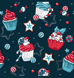 christmas cupcakes and sweets seamless vector image