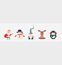 christmas cute characters and animals icon vector image