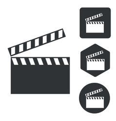 Clapperboard icon set monochrome vector