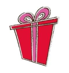 color gift box ribbon anniversary party sketch vector image
