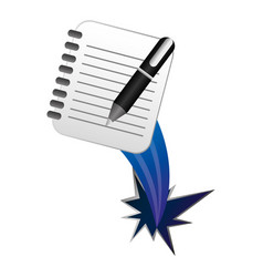 color notebook pen with hole icon vector image