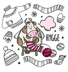 cow knits warm winter things cartoon vector image