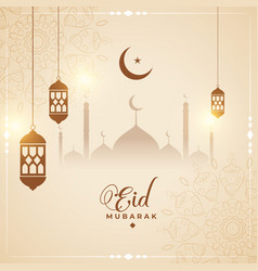 Cultural eid mubarak card design background vector