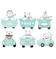 cute baby animal with car cartoon hand drawn vector image