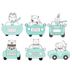 Cute baby animal with car cartoon hand drawn vector