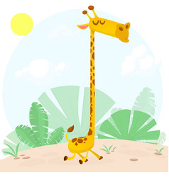 cute cartoon giraffe character vector image