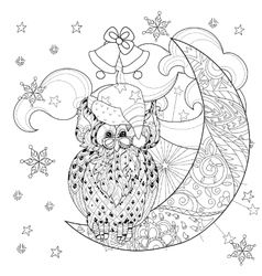 Cute owl on christmas half moon vector image