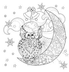 cute owl on christmas half moon vector image