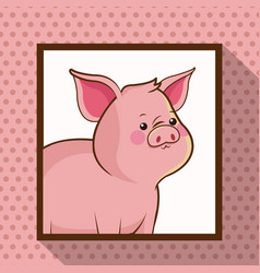 Cute pig frame picture vector
