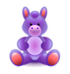 cute purple horse soft toy isolated on white vector image