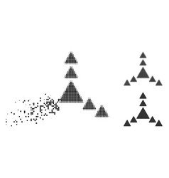 Disappearing pixel halftone direction triangles vector