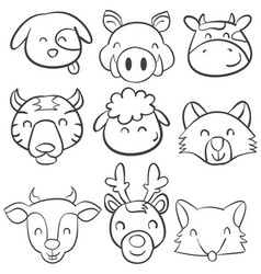 Doodle of animal head design collection vector