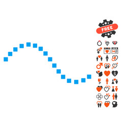 Dotted function line icon with valentine bonus vector