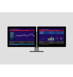 Dual two monitor stock transaction terminal vector