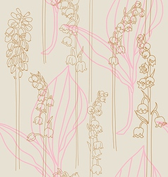 Elegant seamless print with lilies valley vector