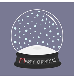 Empty crystal ball with snow Template Merry vector