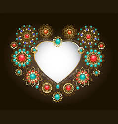 ethnic frame in the shape of heart vector image