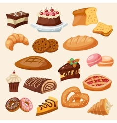 Flat icon pastry set vector