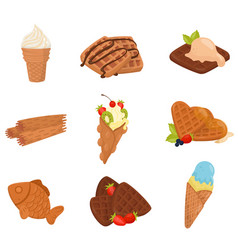 flat set of various waffle desserts ice vector image