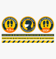 floor stickers collection social distancing vector image