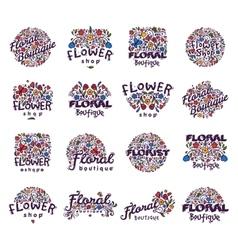 Floral shop badge vector image