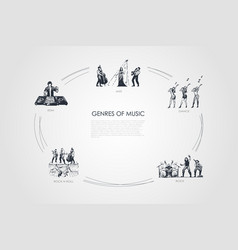 genres music - jazz dance rock edm vector image