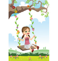 Girl swinging on a tree vector