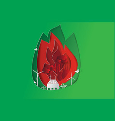green city opposites with eco fire concept vector image