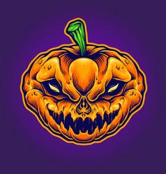 halloween skull monster mascot vector image