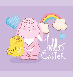 happy easter rabbit chicken rainbow hearts vector image