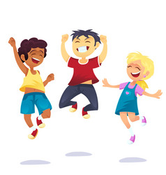 Happy school multiracial children joyfully jumping vector