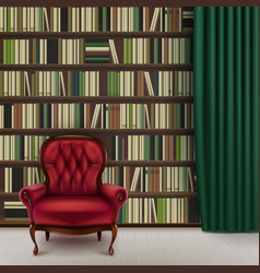 home library interior vector image