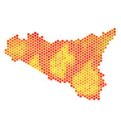 hot hexagon sicilia map vector image