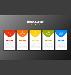 infographics 5 steps with square vector image