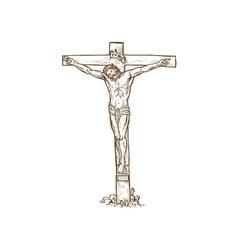 Jesus christ hanging on cross vector