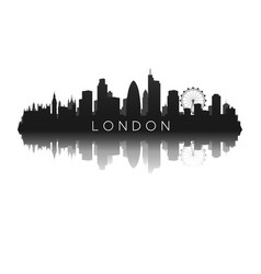 london skyline silhouette with reflection vector image