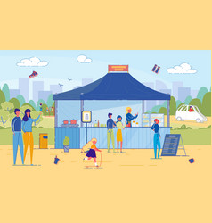 man and woman buy fastfood in street food stand vector image