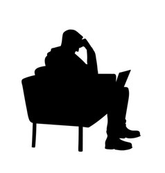 man with laptop black silhouette isolated on vector image